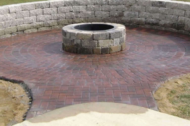 Paver fire pit and paver patio installed Myrtle Beach by Outdoor Kreations