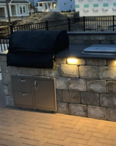 Check Out This Outdoor Grill Installed Into The Counter of this Outdoor Kitchen.